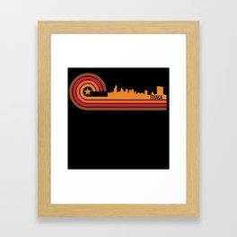 Retro Style Ithaca New York Skyline Framed Art Print