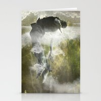 arya Stationery Cards featuring Man floating by ARTiSTiC TENDENCiES