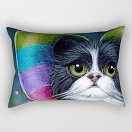 SPRING TUXEDO FAIRY CAT with RAINBOW WINGS & FLOWERS Rectangular Pillow