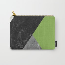 Black and white marbles and pantone greenery color Carry-All Pouch