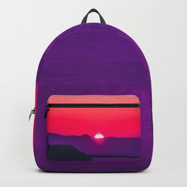 purple sunset in Fira Santorini Backpack
