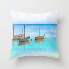 Sailing Boats on Blue Water Artwork Throw Pillow