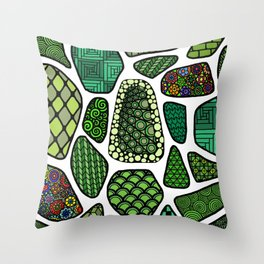 Patterned green stone floor Throw Pillow