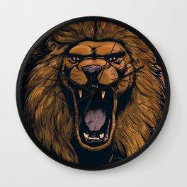 Elegant Wonderful Male African Lion Angry Roaring Teeth Ultra HD Wall Clock