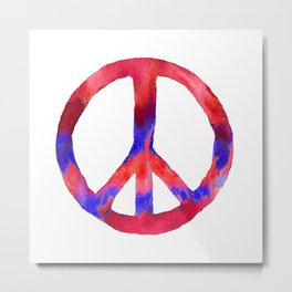 Patriotic Peace Sign Tie Dye Watercolor Metal Print