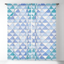 Triangle Pattern No. 9 Shifting Blue and Turquoise Blackout Curtain
