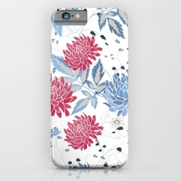 Red & blue hollyhocks iPhone Case