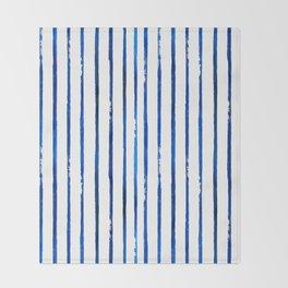 Indigo Stripes - Blue and White Throw Blanket