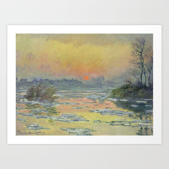 """Claude Monet """"Sunset on the Seine in Winter"""" by alexandra_arts"""