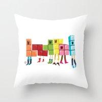 tetris Throw Pillows featuring Tetris by Sarit Evrani