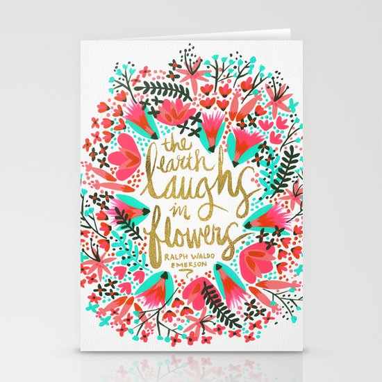 The Earth Laughs in Flowers – Pink & Gold Stationery Cards