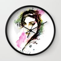 amy hamilton Wall Clocks featuring AMY by Ryan Huddle House of H
