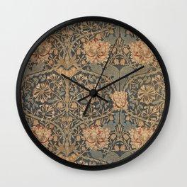 Honeysuckle by William Morris 1876,  Printed Linen, Vintage Pattern, CC0 Spring Summer Wall Clock