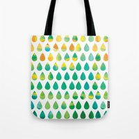 rain Tote Bags featuring Monsoon Rain by Picomodi