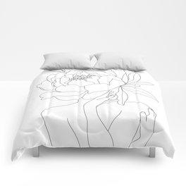 Minimal Line Art Woman Flower Head Comforters