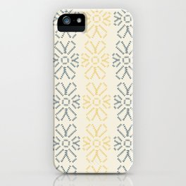 Embroidered flowers yellow and grey pattern iPhone Case