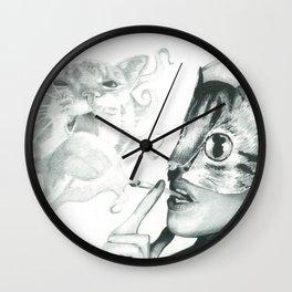 Crystal Castles Cat drawing Wall Clock