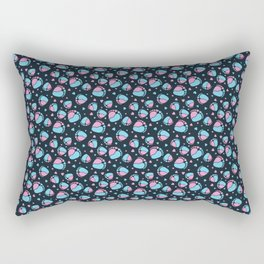 Pattern with Baby Feet  and Hearts on dark blue background Rectangular Pillow