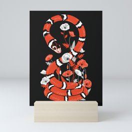 King snake with poppy flowers Mini Art Print
