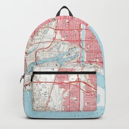 Vintage Map of Long Beach California (1964) 4 Backpack