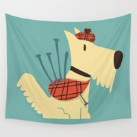 terrier Wall Tapestries featuring Scottish  Terrier - My Pet by Picomodi