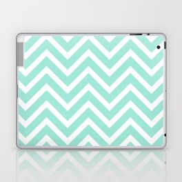 Chevron Stripes : Seafoam Green & White Laptop & iPad Skin