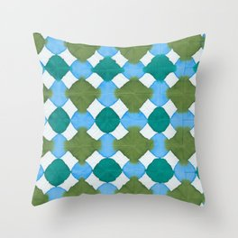 Shibori (green and blue) Throw Pillow