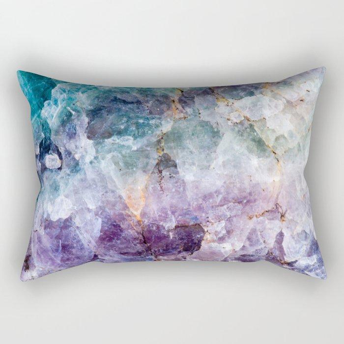 Turquoise & Purple Quartz Crystal Rechteckiges Kissen