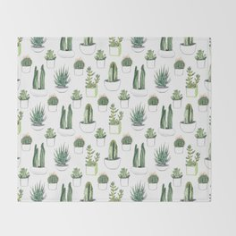 watercolour cacti and succulent Throw Blanket