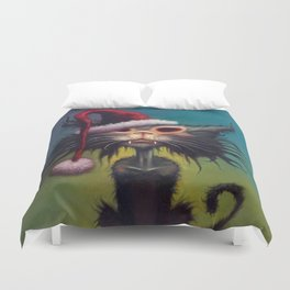 Zombie Cat Christmas Duvet Cover