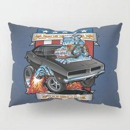 American Muscle Patriotic Classic Muscle Car Cartoon Illustration Pillow Sham