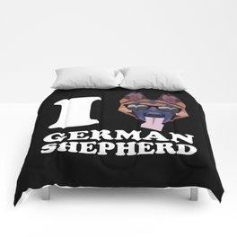 I Love German Shepherd modern v2 Comforters