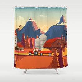 Rural Farmland Countryside Landscape Illustration Shower Curtain