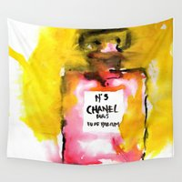 channel Wall Tapestries featuring Channel No. 5 by  Paula Molina