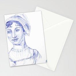 Jane Austen Portrait in Blue Bic Ink Pen Stationery Cards