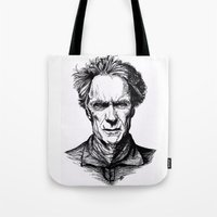 clint eastwood Tote Bags featuring Clint Eastwood by Oriane Mlr