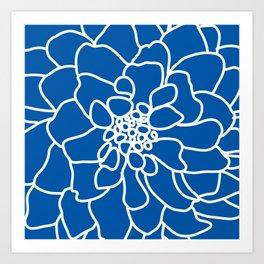 peony cobalt Art Print