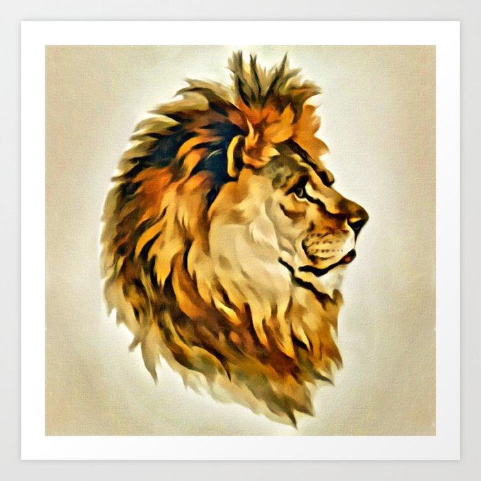 Majestic Lion Portrait Art Print By Digitaleffects