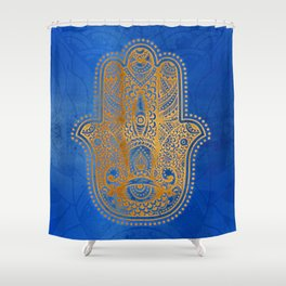 Elegance Hamsa Hand Metallic Gold Royal Blue Shower Curtain