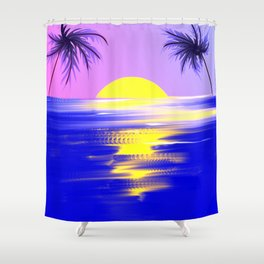 Tropical sunset design Shower Curtain