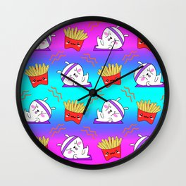 Cute sweet adorable Kawaii fitness bunnies exercising on a yoga mat, yummy happy funny French fries colorful rainbow blue pink pattern design. Workout and comfort food. Wall Clock