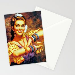 Jesus Helguera Painting of a Mexican Calendar Girl with Bangles Stationery Cards
