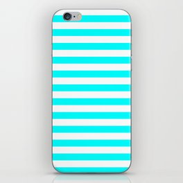 Narrow Horizontal Stripes - White and Aqua Cyan iPhone Skin