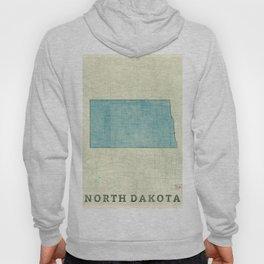 North Dakota State Map Blue Vintage Hoody