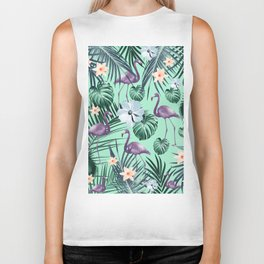 Tropical Flamingo Flower Jungle #5 #tropical #decor #art #society6 Biker Tank