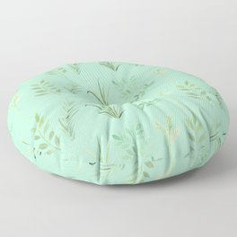 Bouquet of branches and leaves pattern,  Mint background Floor Pillow
