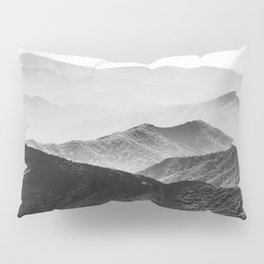 Glimpse - Black and White Mountains Landscape Nature Photography Pillow Sham