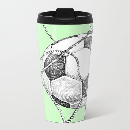 Goal in green Metal Travel Mug