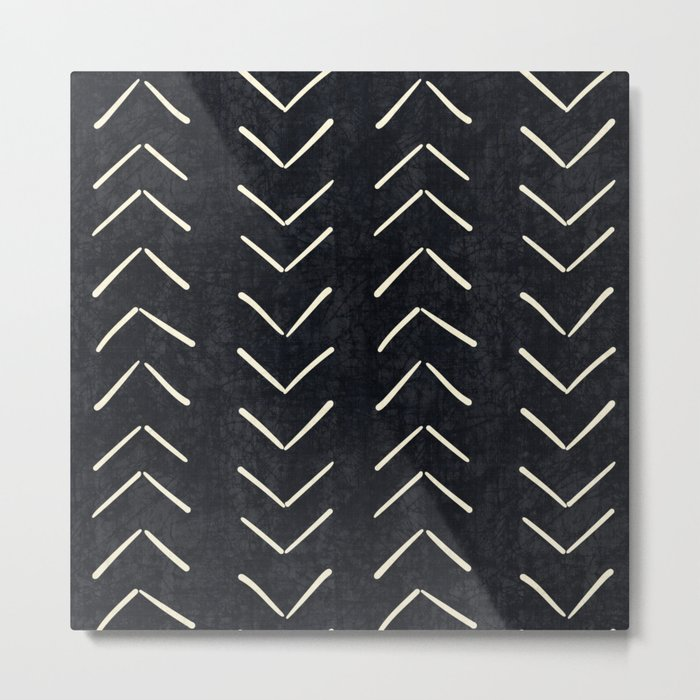 Mudcloth Big Arrows in Black and White Metal Print