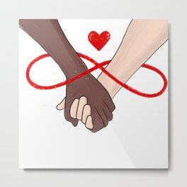 Infinity Love Black Lives Matter Human Rights Equality Holding Hands  Metal Print